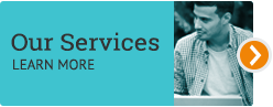 Teal button that reads Our Services Learn more and a picture of a man