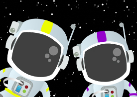 Illustration of two astronauts in space