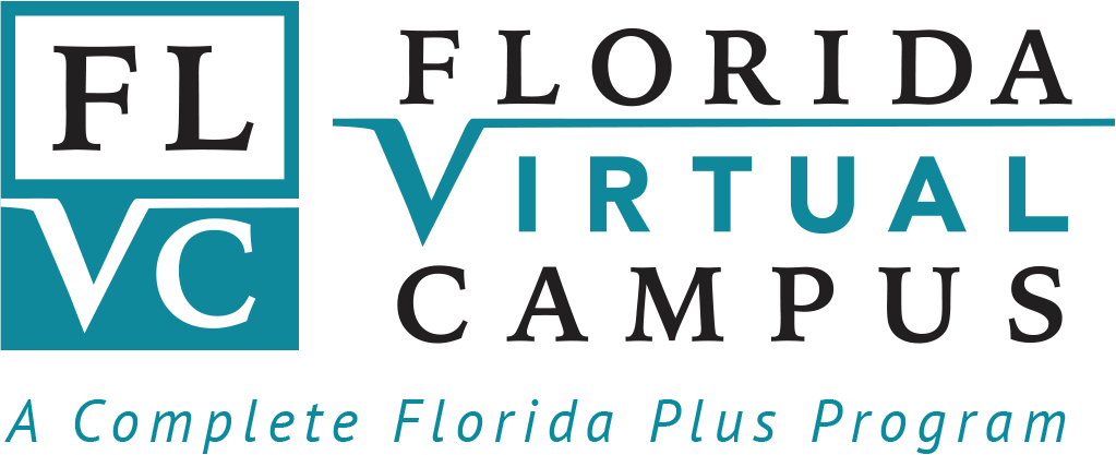 The Florida Virtual Campus Logo Vertical Layout with tagline that reads a complete florida plus program